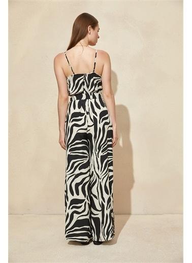 Setre Siyah-Beyaz Zebra Desen Kemerli Tulum Siyah